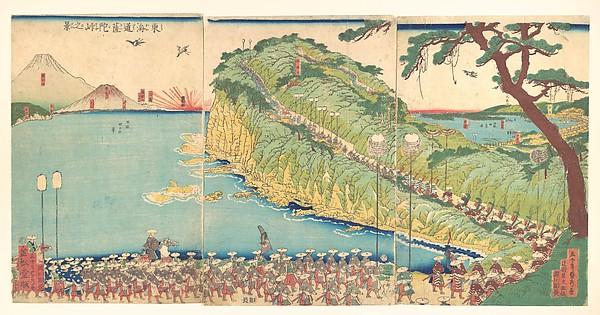 Daimyo's Processions Passing along the Tōkaidō, Utagawa (Gountei) Sadahide (Japanese, 1807–1878/79), Triptych of polychrome woodblock prints; ink and color on paper, Japan