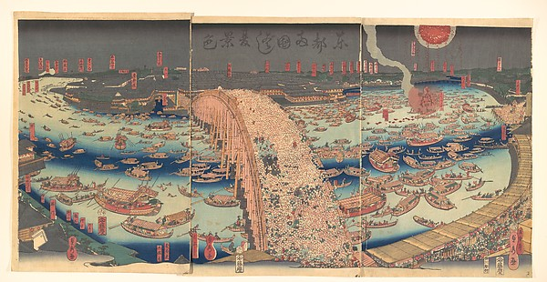 Panoramic View of Ryōgoku Bridge in the Summer, Utagawa (Gountei) Sadahide (Japanese, 1807–1878/79), Triptych of polychrome woodblock prints; ink and color on paper, Japan