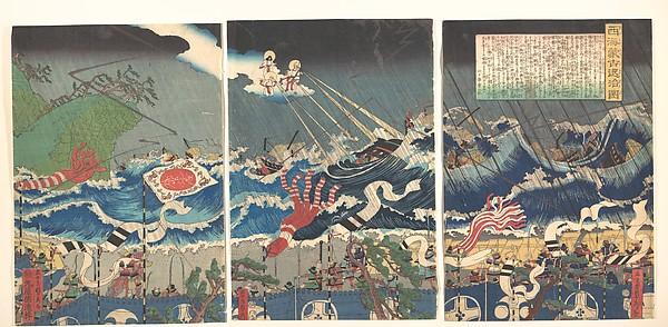 Warrior Scene, Utagawa (Gountei) Sadahide (Japanese, 1807–1878/79), Triptych of polychrome woodblock prints; ink and color on paper, Japan