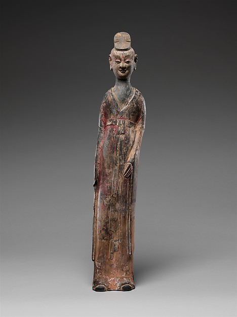 Male Palace Attendant, Earthenware with traces of pigment over white slip, China