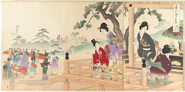 Chiyoda Castle (Album of Women), Yōshū (Hashimoto) Chikanobu (Japanese, 1838–1912), Triptych of polychrome woodblock prints; ink and color on paper, Japan
