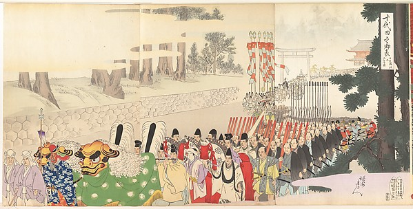 Chiyoda Castle (Album of Men), Yōshū (Hashimoto) Chikanobu (Japanese, 1838–1912), Triptych of polychrome woodblock prints; ink and color on paper, Japan