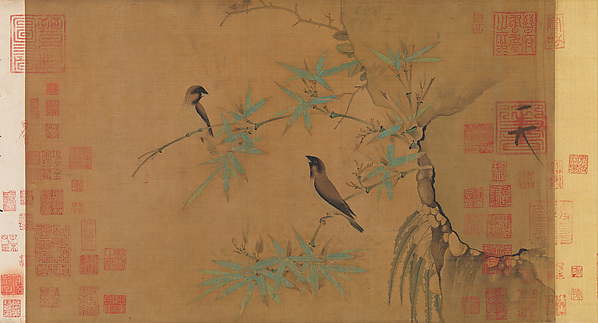 Finches and bamboo, Emperor Huizong (Chinese, 1082–1135; r. 1100–25), Handscroll; ink and color on silk, China