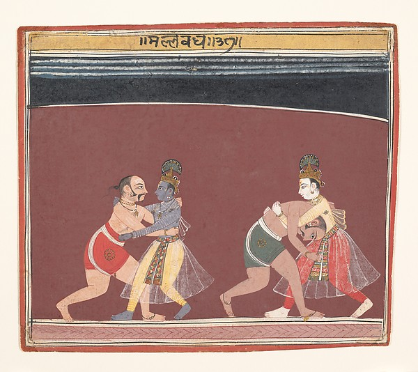 Krishna and Balarama Fight the Evil King Kamsa's Wrestlers: Page from a Dispersed Bhagavata Purana, Ink and opaque watercolor on paper, India (Madhya Pradesh, Malwa)