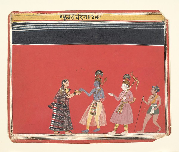 Krishna Accepts an Offering from the Hunchbacked Woman Trivakra: Page from a Bhagavata Purana Series, Ink and opaque watercolor on paper, India (Madhya Pradesh, Malwa)