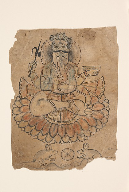 Seated Four-Armed Ganesha, Ink and opaque watercolor on paper, India (Rajasthan, Bundi)
