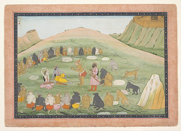 Hanuman Revives Rama and Lakshmana with Medicinal Herbs, Workshop active in the generation after Nainsukh (active ca. 1735–78), Ink and opaque watercolor on paper, India (Punjab Hills, Guler)