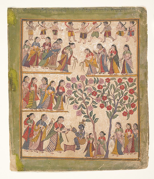Yashoda Binds Krishna's Hands: Page from a Dispersed Bhagavata Purana Manuscript, Ink and opaque watercolor on paper, India (Gujarat)