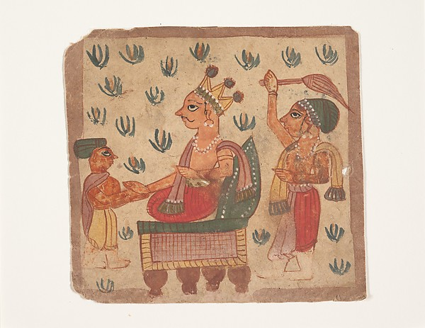 A King Seated on His Throne, Ink and opaque watercolor on paper, India (Gujarat)