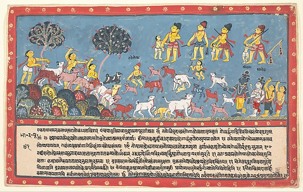 Krishna, Balarama, and the Cowherders: Page from a Dispersed Bhagavata Purana (Ancient Stories of Lord Vishnu), Ink and opaque watercolor on paper, India (Orissa)