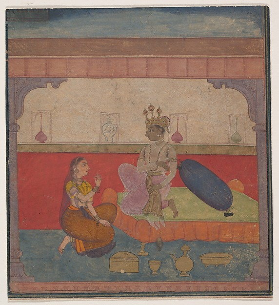 Radha Speaks to Krishna: Page from the Boston Rasikapriya (Lover's Breviary), Ink, opaque watercolor, and gold on paper, India (Rajasthan, Amber?)