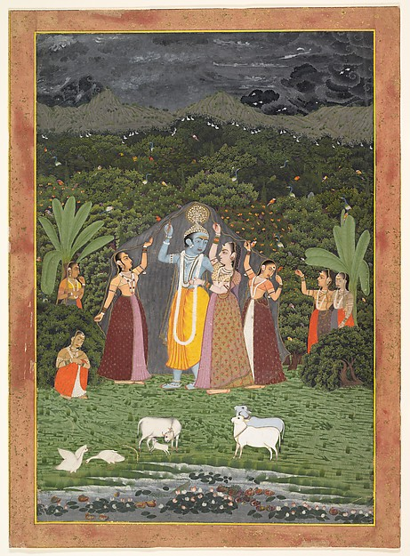 Krishna and the Gopis Take Shelter from the Rain, Ink, opaque watercolor, and gold on paper, India (Rajasthan, Jaipur)