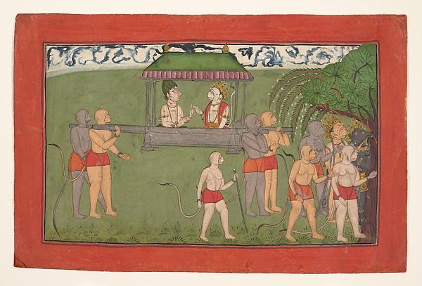 Lakshmana and Sugriva Being Carried by Palanquin to Receive Rama's Blessings, Ink and opaque watercolor on paper, India (Punjab Hills, Mankot)