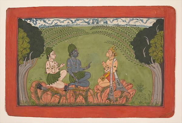 Hanuman before Rama and Lakshmana, Ink and opaque watercolor on paper, India (Punjab Hills, Mankot)