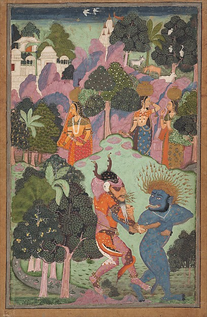 Demons Fighting Over an Animal Limb, Ink, opaque watercolor, and gold on paper, India (Rajasthan, Bikaner or the Deccan)