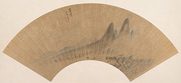 Landscape, Shen Hao (Chinese, active late 17th century), Folding fan mounted as an album leaf; ink on gold paper, China