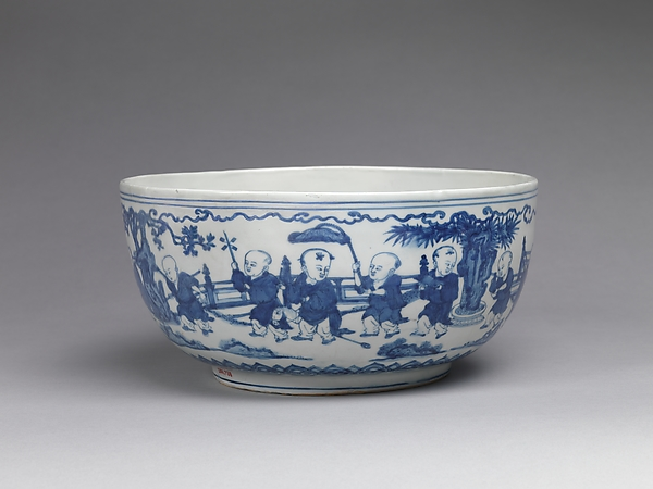 Bowl with Boys in a Garden, Porcelain painted with cobalt blue under transparent glaze (Jingdezhen ware), China