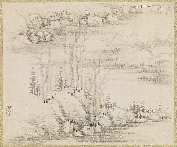 Landscapes and trees, Gong Xian (Chinese, 1619–1689), Album of twelve leaves; ink on paper, China