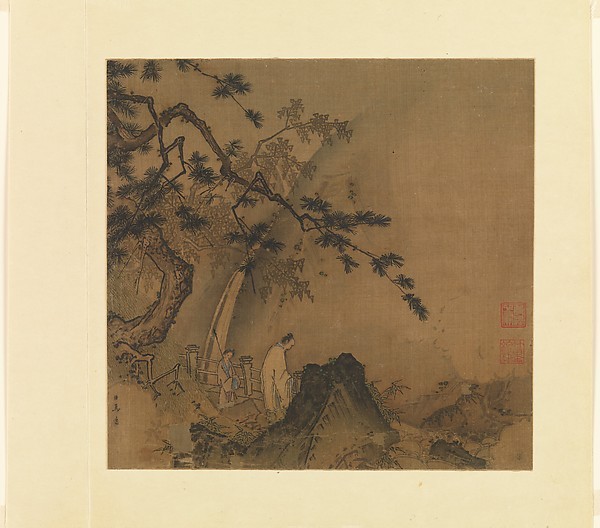 Scholar viewing a waterfall, Ma Yuan (Chinese, active ca. 1190–1225), Album leaf; ink and color on silk, China