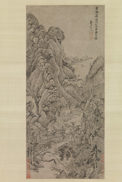 Travelers among Streams and Mountains, Wu Li (Chinese, 1632–1718), Hanging scroll; ink on paper, China