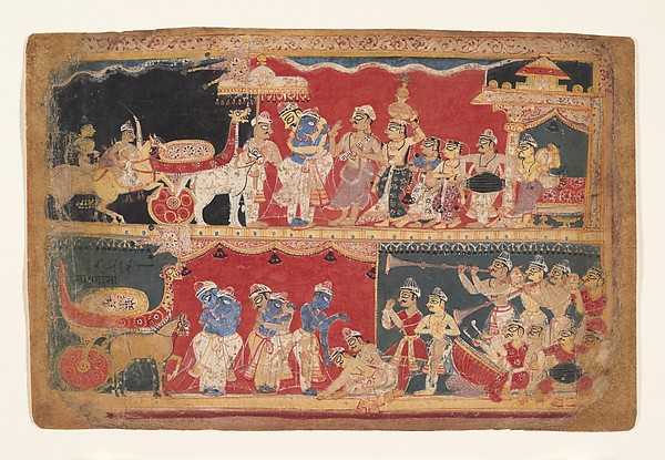 Krishna Is Welcomed into Mathura: Page from a Dispersed Bhagavata Purana Manuscript, Ink and opaque watercolor on paper, India (Delhi Agra area)
