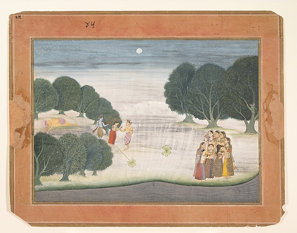 The Death of the Giant Shankachura: Page from a Dispersed Bhagavata Purana (Ancient Stories of Lord Vishnu), Ink and opaque watercolor on paper, India (Bikaner)