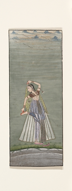 A Lady Applying Henna to Her Raised Foot, Attributed to Ustad Mohamed, son of Murad, Ink, opaque watercolor, and gold on paper, India (Rajasthan, Bikaner)