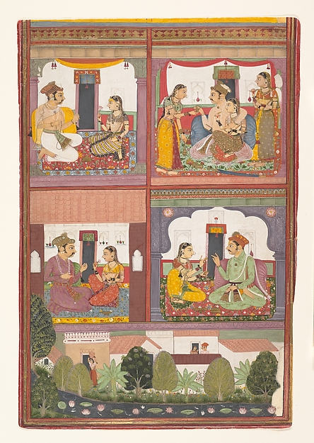 Four Love Scenes and a Landscape: Page from a Dispersed Raskapriya, Ink and opaque watercolor on paper, India (Rajasthan, Bundi)