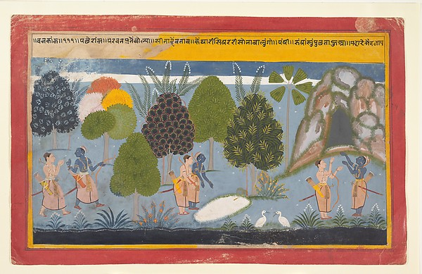 Rama and Lakshmana Search in Vain for Sita, Ink and opaque watercolor on paper, India (Rajasthan, Mewar)