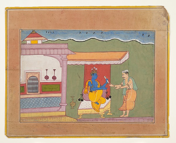 The Brahmin Delivers Rukmini's Letter to Krishna: Page from a Dispersed Bhagavata Purana (Ancient Stories of Lord Vishnu), Ink and opaque watercolor on paper, India (Rajasthan, Bikaner)