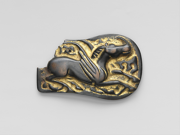 Plaque with a Winged Horse, Gilt bronze, North China