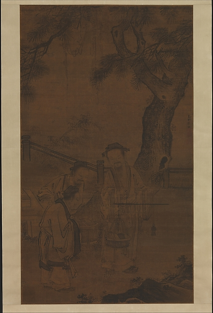 Weighing Books, Guo Xu (Chinese, 1456–1532), Hanging scroll; ink and color on silk, China