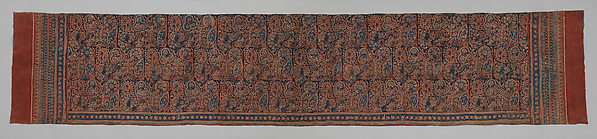 Textile with a Forested Landscape, Cotton, painted resist and block-printed mordant, dyed, India (Gujarat), for the Indonesian market