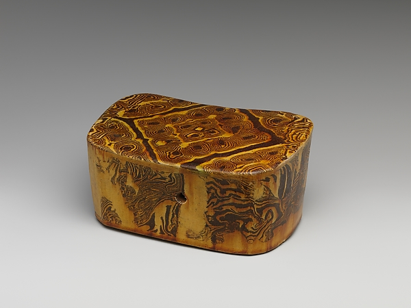 Pillow, Marbled earthenware with a straw-yellow glaze, China