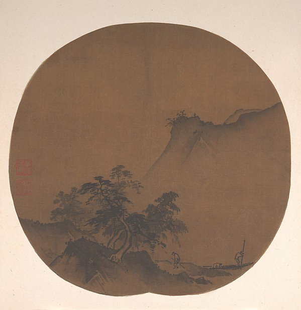 Windswept Lakeshore, Attributed to Xia Gui (Chinese, active ca. 1195–1230), Fan mounted as an album leaf; ink on silk, China