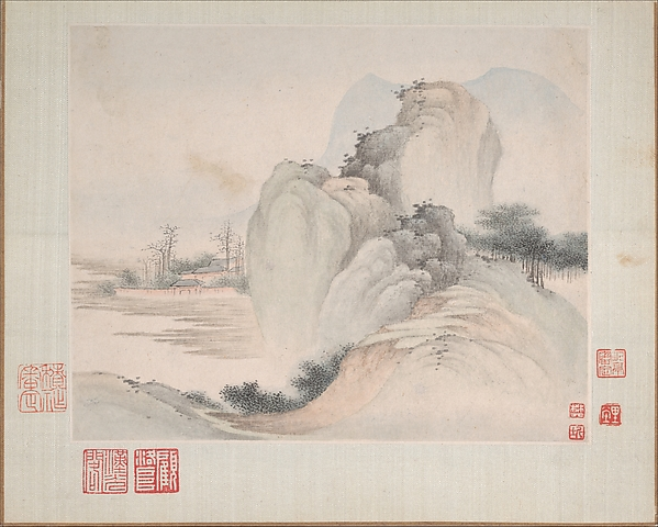 Landscapes Painted for Yuweng, Fan Qi (Chinese, 1616–after 1694), Album of eight leaves; ink and color on paper, China