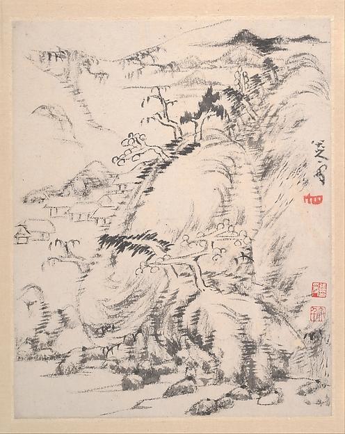 Landscape album, Bada Shanren (Zhu Da) (Chinese, 1626–1705), Album of twelve leaves; ink and color on paper, China