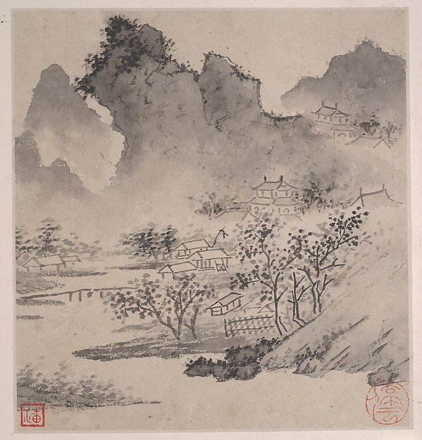 Eight Songs of the Xiao and Xiang Rivers, Wen Zhengming (Chinese, 1470–1559), Album of eight painting leaves with facing sheets inscribed with poems, preceded by a four-sheet title piece; ink on paper, China
