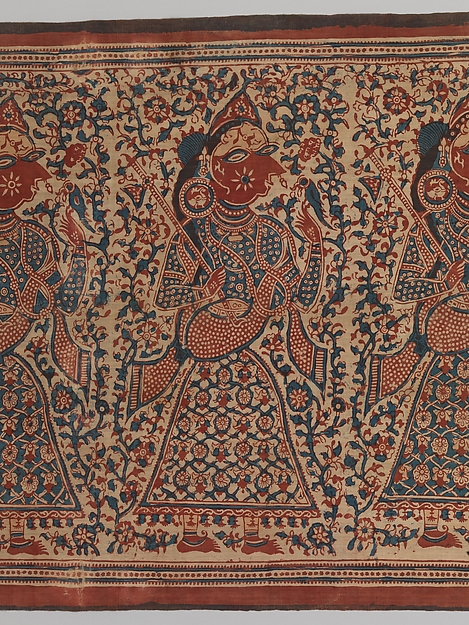 Painted Textile Depicting Celestial Musicians, Block-printed plain-weave cotton (mordant- and resist-dyed), India (Gujarat)