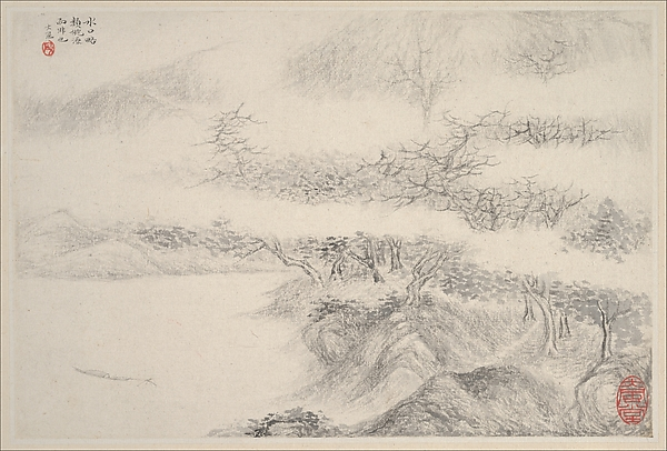 Landscapes, Zhang Feng (Chinese, active ca. 1628–1662), Album of twelve leaves; ink and color on paper, China