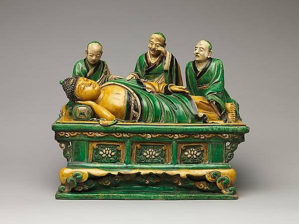 Final Transcendence (Parinirvana) of the Buddha, Qiao Bin (Chinese, active 1481–1507), Glazed stoneware, China