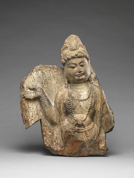 Bodhisattva, Limestone with traces of pigment, China