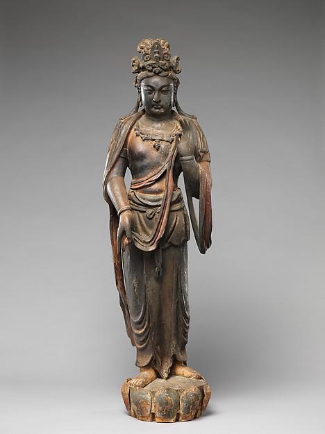 Bodhisattva Mahasthamaprapta (Dashizhi), Wood (willow) with traces of pigment and gilding, single-woodblock construction, China