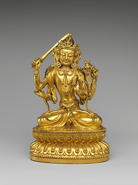 Bodhisattva Manjushri as Tikshna-Manjushri (Minjie Wenshu), Gilt brass; lost-wax casting, China