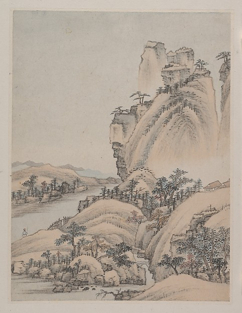 Landscapes, Xiao Yuncong (Chinese, 1596–1673), Album of eight paintings; ink and color on paper, China