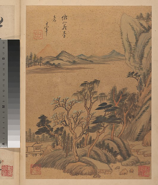 Landscapes and Poems, Dong Qichang (Chinese, 1555–1636), Album of eight paintings and eight calligraphies; ink, gold and color on gold-flecked paper, China