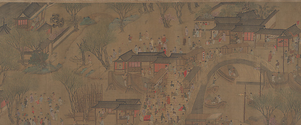 Going Upriver on the Qingming Festival, Unidentified Artist Chinese, 18th century?, Handscroll; ink and color on silk, China