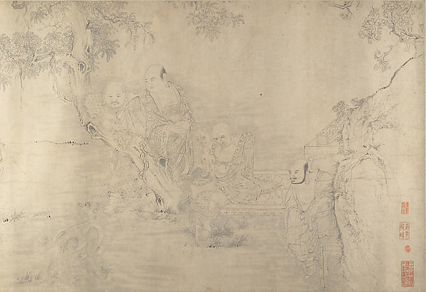 (Copy after) The Sixteen Luohans, In the Style of Shitao (Zhu Ruoji) (Chinese, 1642–1707), Handscroll; ink on paper, China