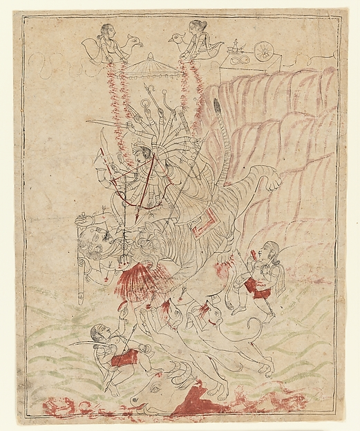 The Goddess Durga Killing the Buffalo Demon, Mahisha (Mahishasura Mardini), Ink, transparent and opaque watercolor on paper, India (Rajasthan, Mewar)
