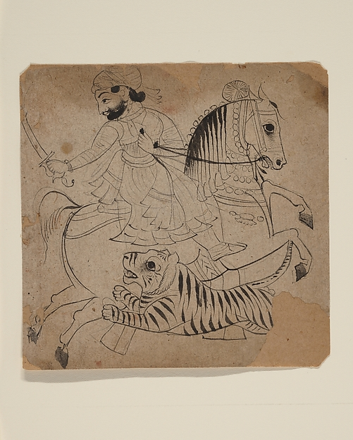 Nobleman Hunting a Tiger, Ink and translucent watercolor on paper, Western India, Rajasthan, Udaipur or Kota